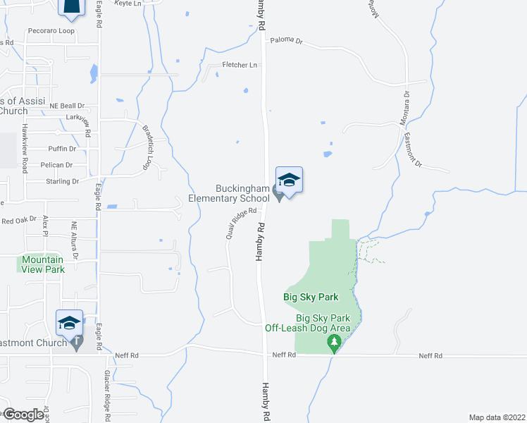 map of restaurants, bars, coffee shops, grocery stores, and more near 62560 Hamby Road in Bend