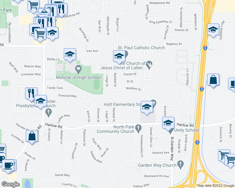 map of restaurants, bars, coffee shops, grocery stores, and more near 969 Randall St in Eugene