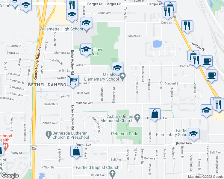 map of restaurants, bars, coffee shops, grocery stores, and more near 1355 Ellsworth St in Eugene