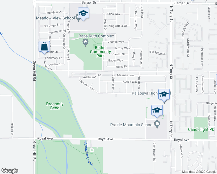 map of restaurants, bars, coffee shops, grocery stores, and more near 5660 Austin Way in Eugene