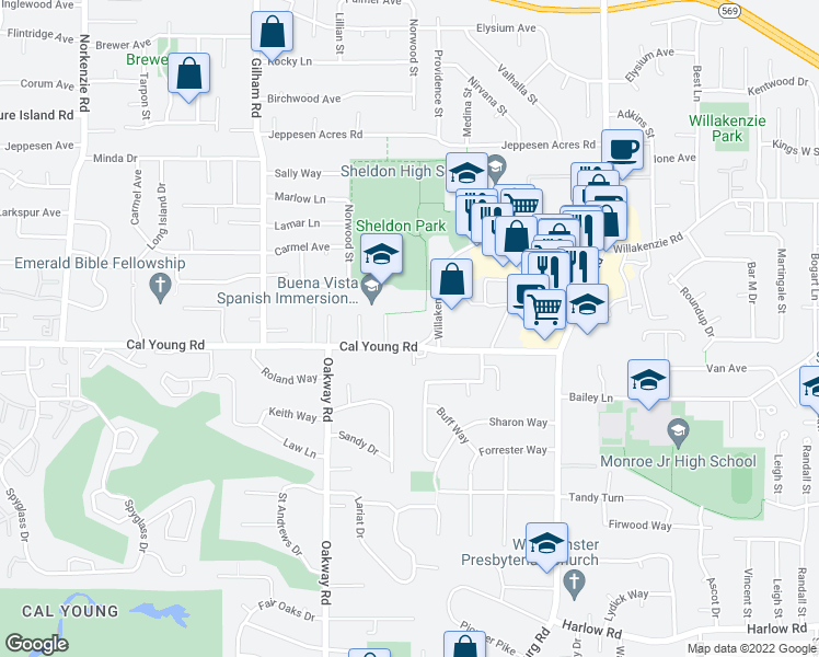 map of restaurants, bars, coffee shops, grocery stores, and more near 2390 Cal Young Rd in Eugene