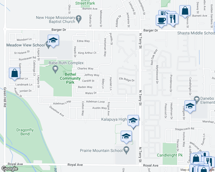 map of restaurants, bars, coffee shops, grocery stores, and more near 1657 Riley Lane in Eugene