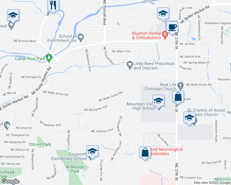 map of restaurants, bars, coffee shops, grocery stores, and more near 2905 NE Purcell Blvd in Bend