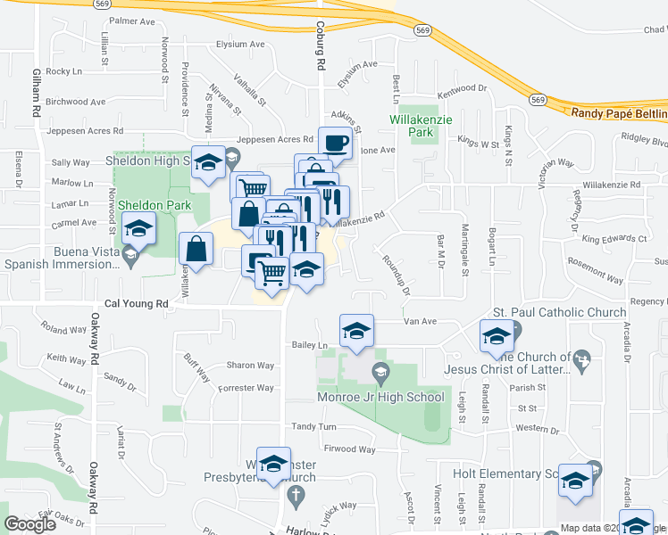 map of restaurants, bars, coffee shops, grocery stores, and more near 1577 Coburg Road in Eugene