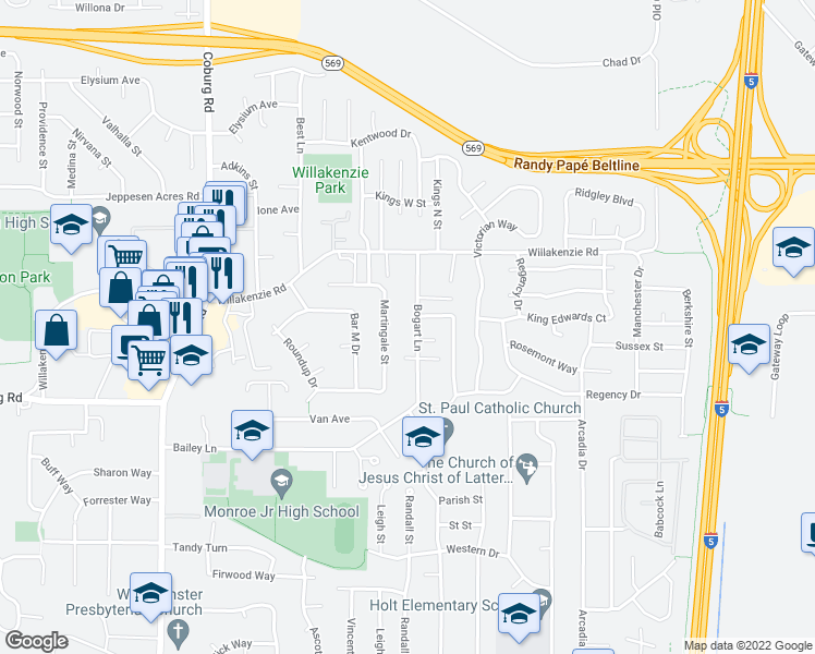 map of restaurants, bars, coffee shops, grocery stores, and more near 1412 Bogart Ln in Eugene