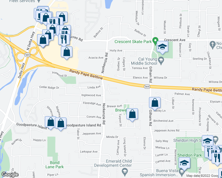 map of restaurants, bars, coffee shops, grocery stores, and more near 2268 Donovan Drive in Eugene