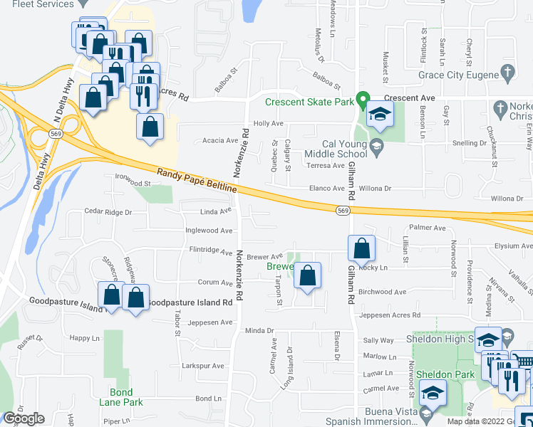 map of restaurants, bars, coffee shops, grocery stores, and more near 2258 Donovan Dr in Eugene