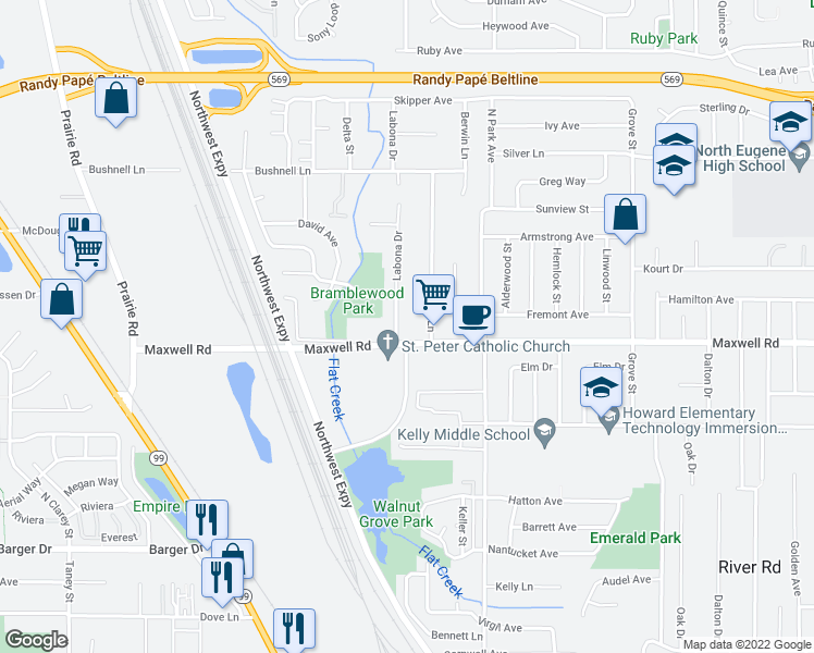 map of restaurants, bars, coffee shops, grocery stores, and more near 1763 Labona Drive in Eugene