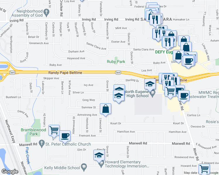map of restaurants, bars, coffee shops, grocery stores, and more near 2183 Grove St in Eugene