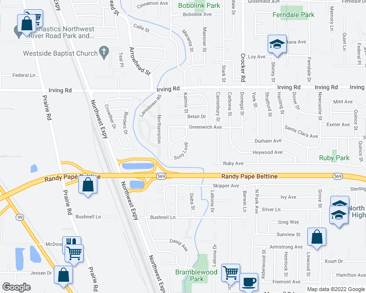 map of restaurants, bars, coffee shops, grocery stores, and more near 2384-2398 Sony Loop in Eugene