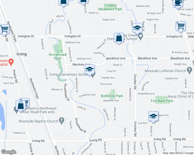 map of restaurants, bars, coffee shops, grocery stores, and more near 3200 Hyacinth Street in Eugene