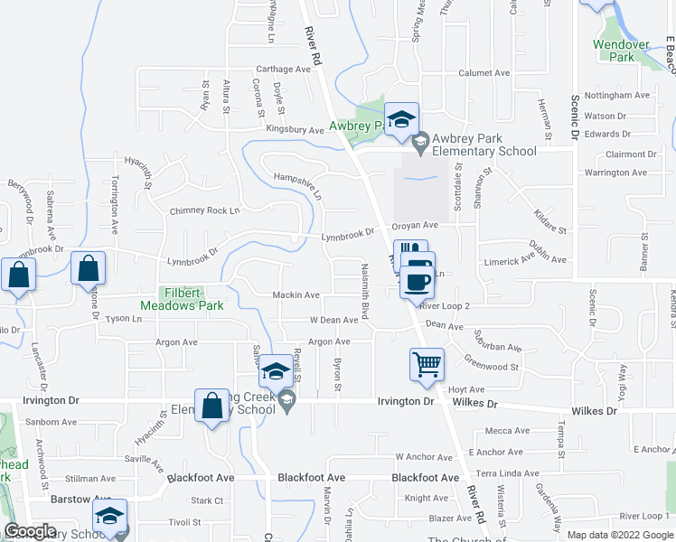 map of restaurants, bars, coffee shops, grocery stores, and more near 205 Mackin Avenue in Eugene