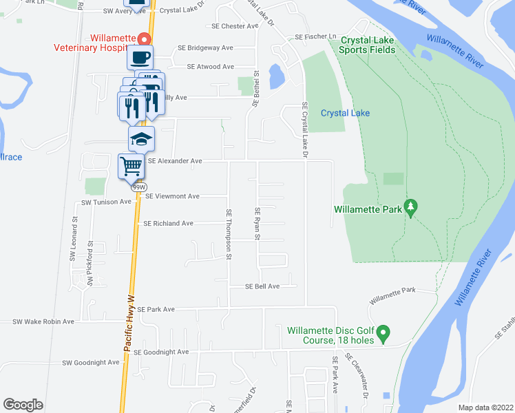 map of restaurants, bars, coffee shops, grocery stores, and more near SE Ryan St & SE Mason Pl in Corvallis