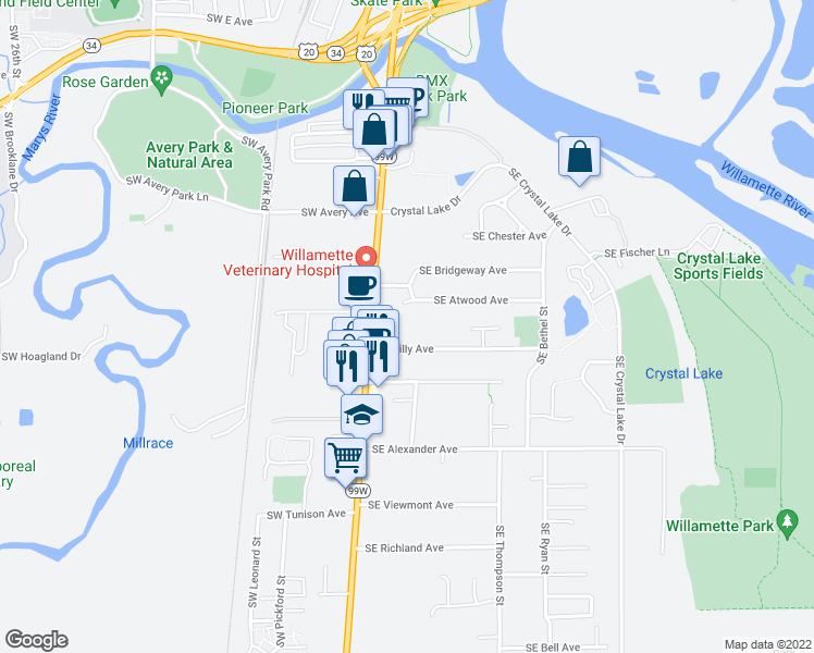 map of restaurants, bars, coffee shops, grocery stores, and more near 215 SE Lilly Ave in Corvallis