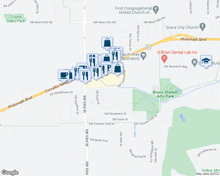 map of restaurants, bars, coffee shops, grocery stores, and more near SW 49th St & SW Technology Loop in Corvallis