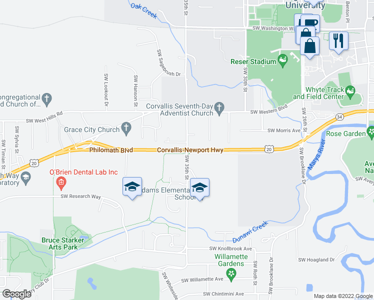 map of restaurants, bars, coffee shops, grocery stores, and more near Hwy 34 in Corvallis