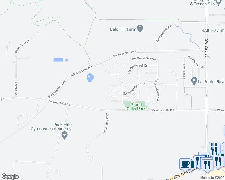 map of restaurants, bars, coffee shops, grocery stores, and more near 6298 SW Grand Oaks Dr in Corvallis