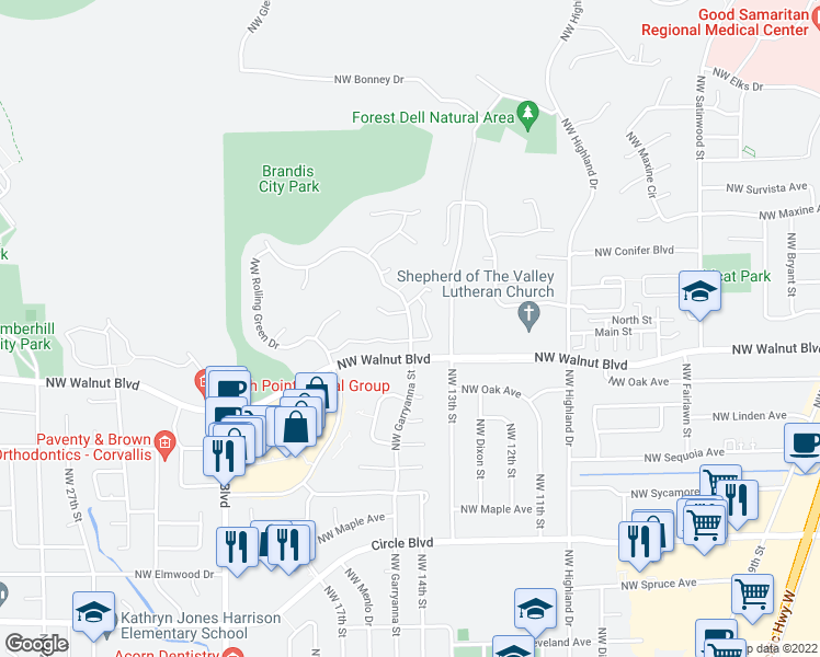map of restaurants, bars, coffee shops, grocery stores, and more near 2655 NW Garryanna Dr in Corvallis