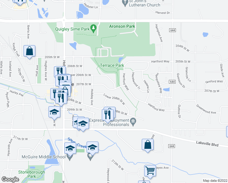 map of restaurants, bars, coffee shops, grocery stores, and more near 8402 207th Street West in Lakeville