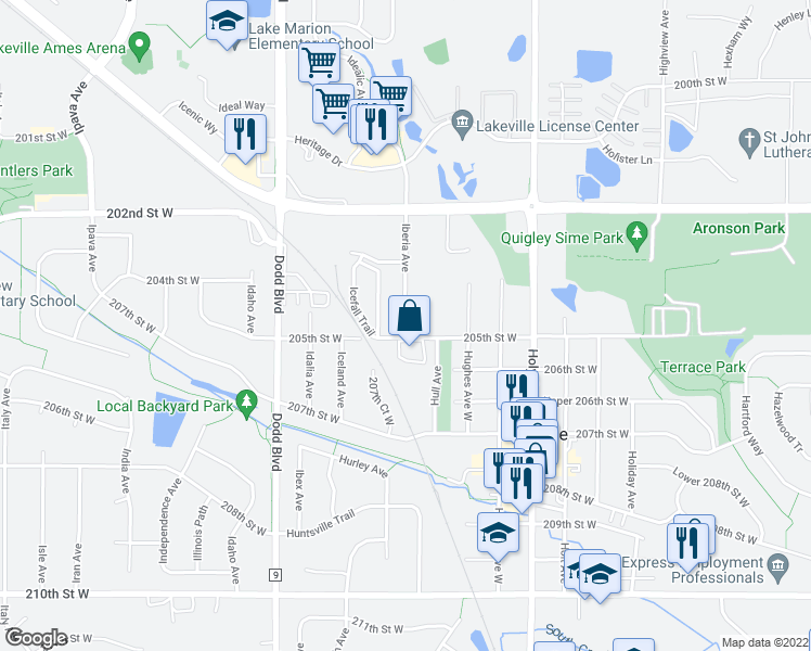 map of restaurants, bars, coffee shops, grocery stores, and more near Icefall Trail in Lakeville