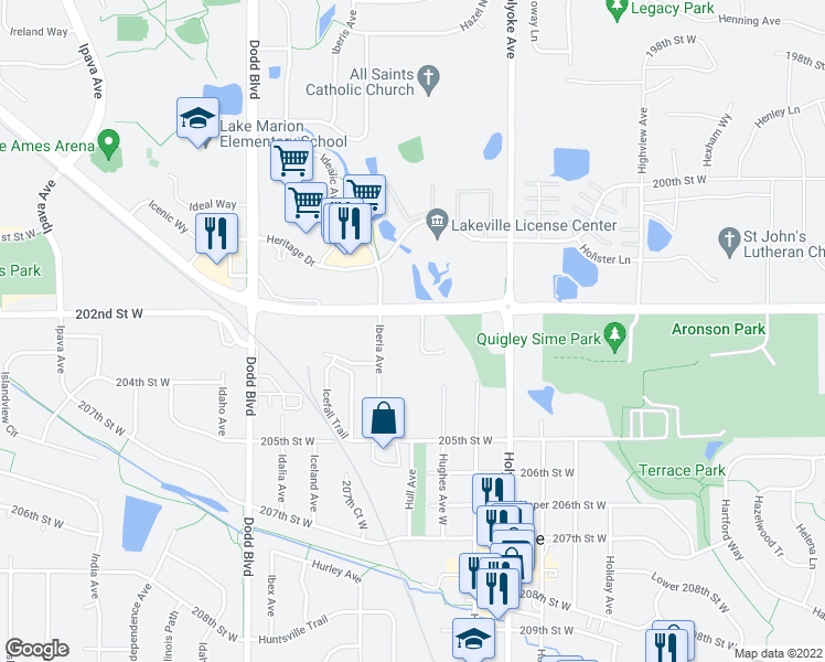 map of restaurants, bars, coffee shops, grocery stores, and more near 20288 Hunter Court in Lakeville