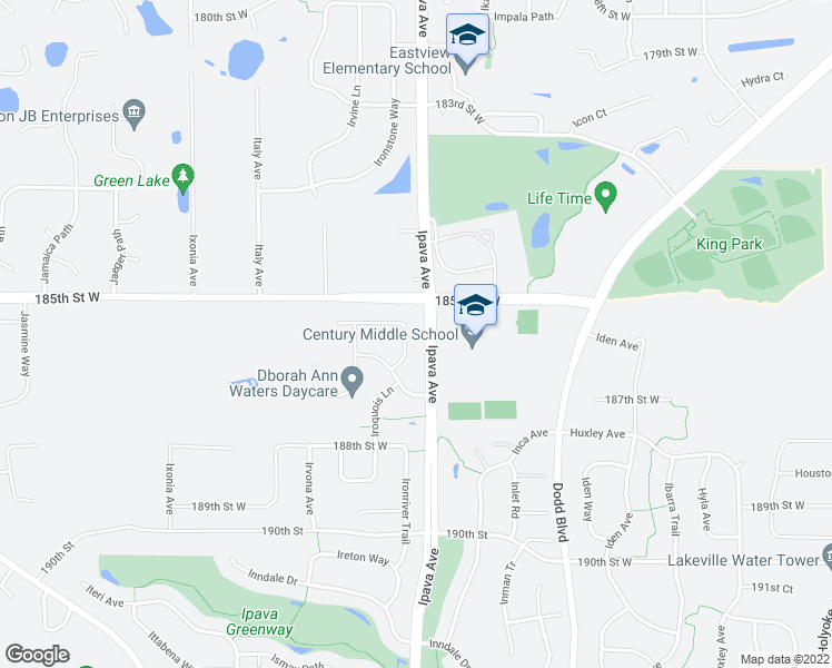 map of restaurants, bars, coffee shops, grocery stores, and more near 18632 Irvine Trail in Lakeville