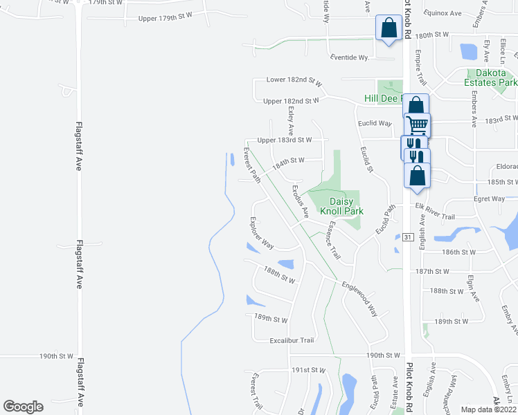 map of restaurants, bars, coffee shops, grocery stores, and more near 18552 Explorer Way in Farmington