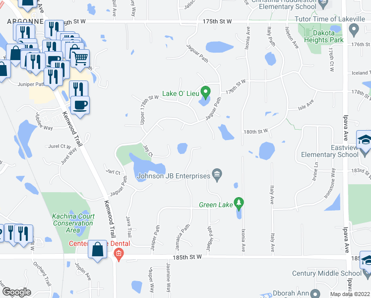 map of restaurants, bars, coffee shops, grocery stores, and more near 18073 Jamaica Path in Lakeville