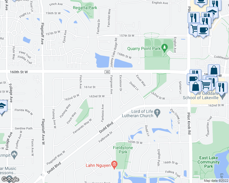 map of restaurants, bars, coffee shops, grocery stores, and more near 16144 Fairgreen Avenue in Rosemount