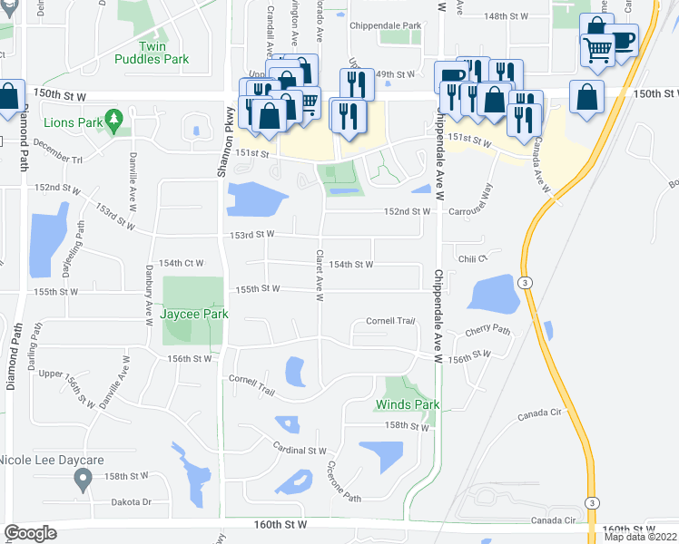 map of restaurants, bars, coffee shops, grocery stores, and more near 3708 154th Street West in Rosemount