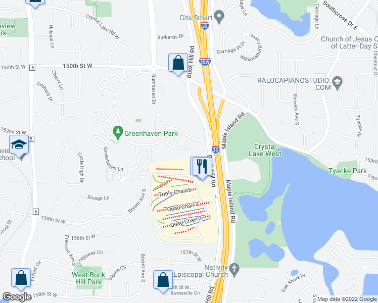 map of restaurants, bars, coffee shops, grocery stores, and more near 435 Stonewood Lane in Burnsville