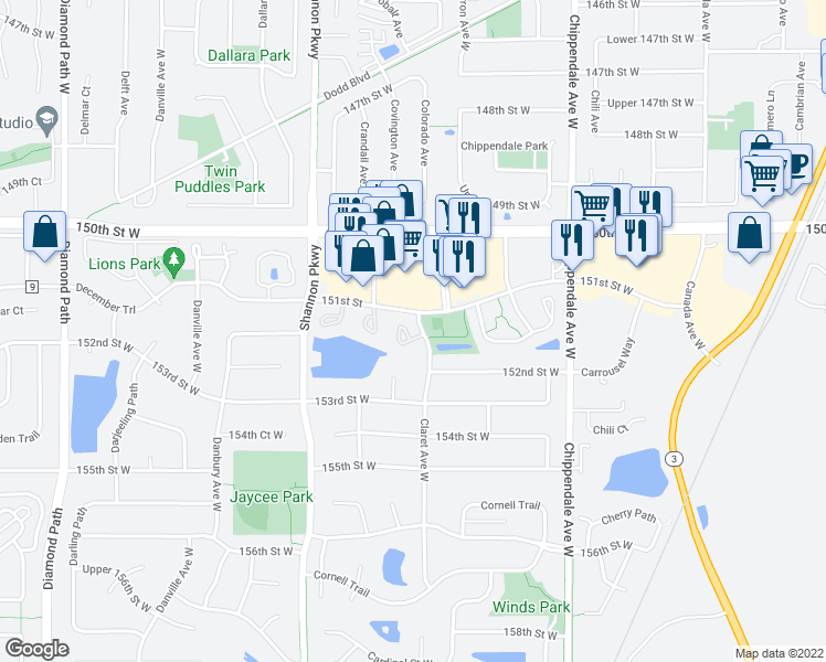 map of restaurants, bars, coffee shops, grocery stores, and more near 15147 Claret Circle in Rosemount