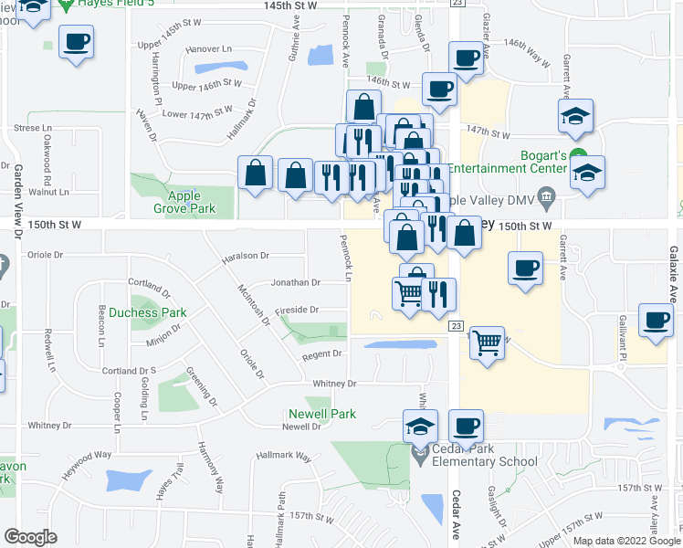 map of restaurants, bars, coffee shops, grocery stores, and more near 815 Jonathan Drive in Apple Valley