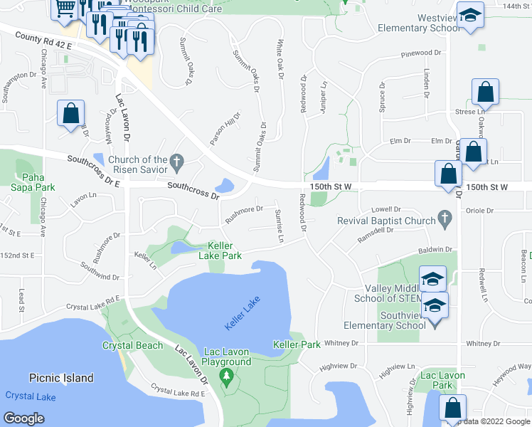 map of restaurants, bars, coffee shops, grocery stores, and more near 1805 Rushmore Drive in Burnsville