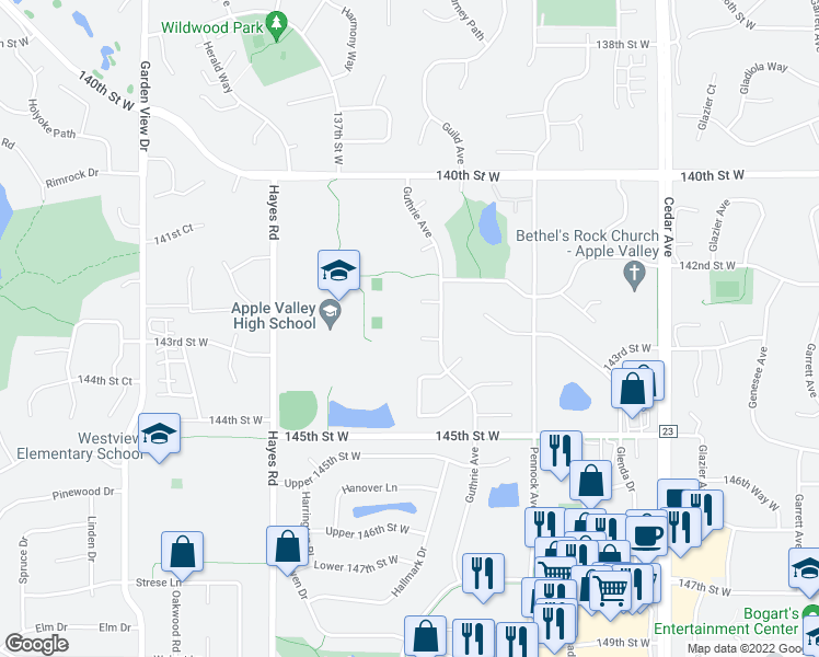 map of restaurants, bars, coffee shops, grocery stores, and more near 14333 Guthrie Avenue in Apple Valley