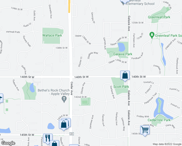 map of restaurants, bars, coffee shops, grocery stores, and more near 7312 Upper 139th Street West in Apple Valley