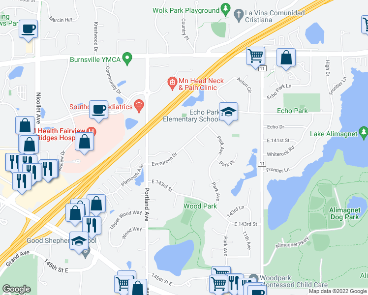 map of restaurants, bars, coffee shops, grocery stores, and more near 658-698 Evergreen Drive in Burnsville