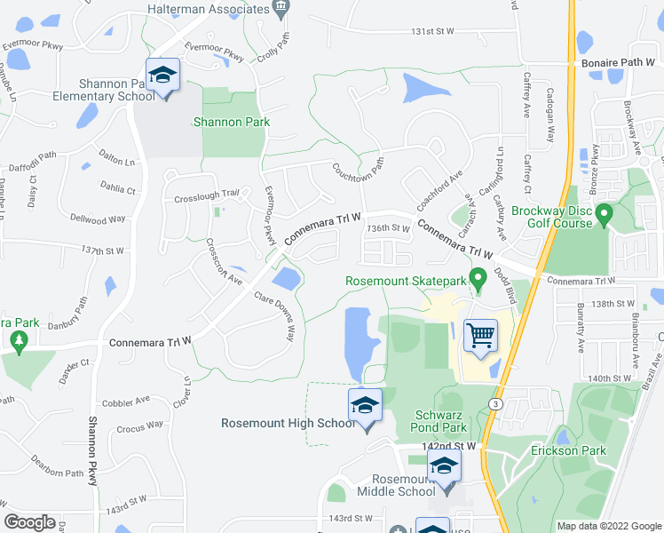map of restaurants, bars, coffee shops, grocery stores, and more near 3442 Cromwell Trail in Rosemount