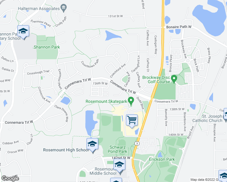 map of restaurants, bars, coffee shops, grocery stores, and more near 13665 Carrach Avenue in Rosemount