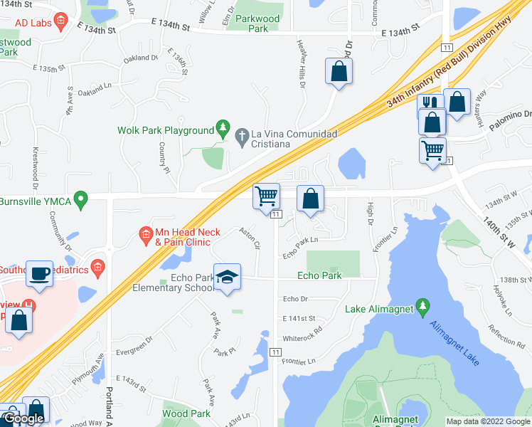 map of restaurants, bars, coffee shops, grocery stores, and more near 1118 Aston Place in Burnsville