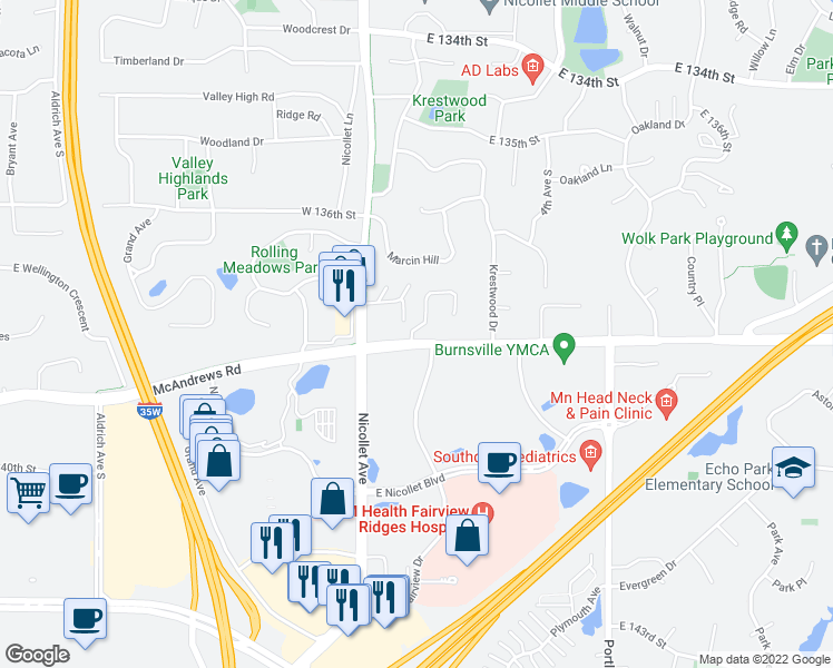 map of restaurants, bars, coffee shops, grocery stores, and more near 109 Crestridge Drive in Burnsville