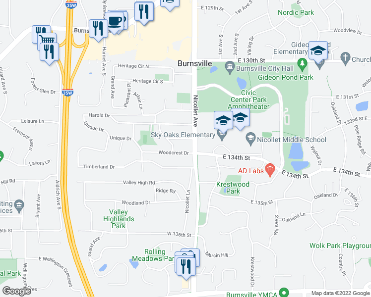 map of restaurants, bars, coffee shops, grocery stores, and more near 8 Woodcrest Drive in Burnsville