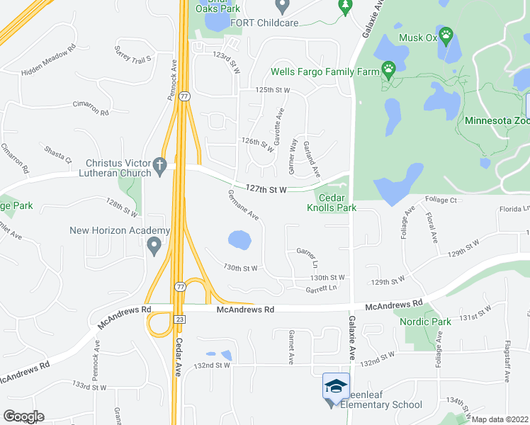map of restaurants, bars, coffee shops, grocery stores, and more near 12790 Germane Avenue in Apple Valley