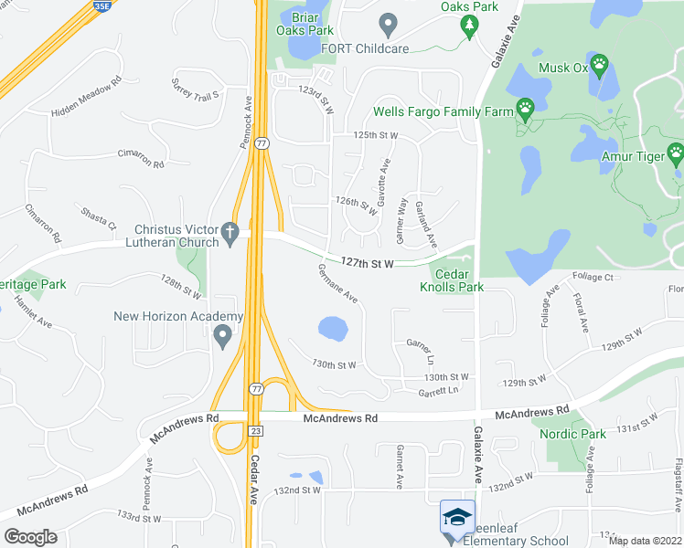 map of restaurants, bars, coffee shops, grocery stores, and more near 12770 Germane Avenue in Apple Valley