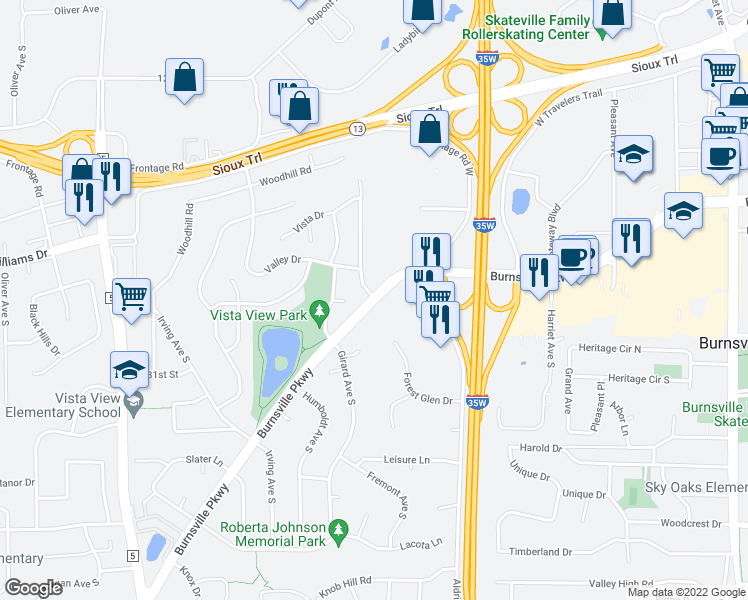 map of restaurants, bars, coffee shops, grocery stores, and more near 1101 West Burnsville Parkway in Burnsville