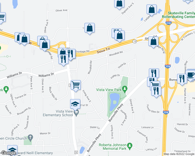 map of restaurants, bars, coffee shops, grocery stores, and more near 1521 Circle Drive in Burnsville