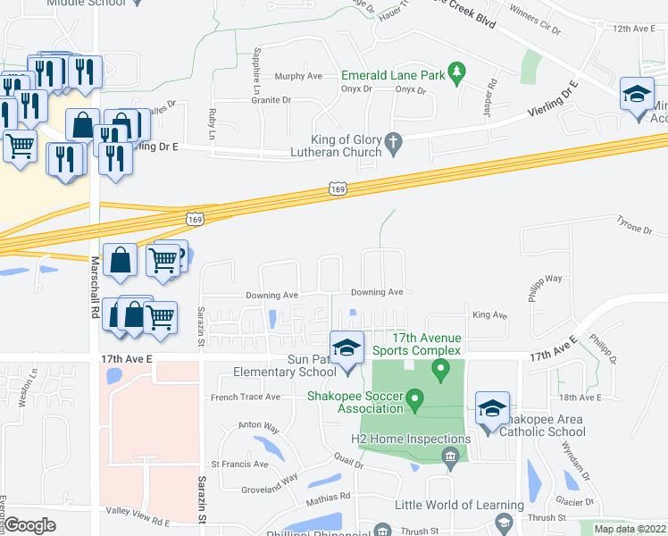 map of restaurants, bars, coffee shops, grocery stores, and more near 1561 Dublin Court in Shakopee