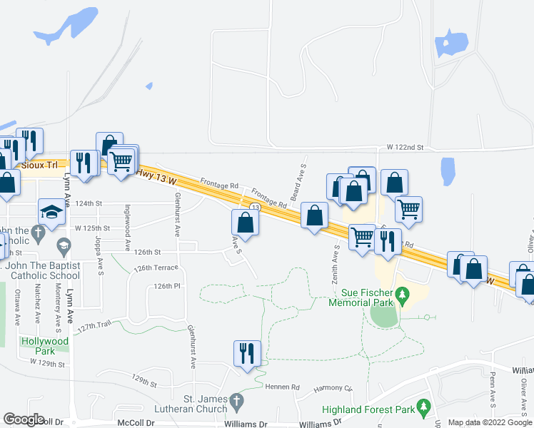 map of restaurants, bars, coffee shops, grocery stores, and more near 3511 Highway 13 in Burnsville
