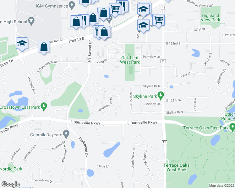 map of restaurants, bars, coffee shops, grocery stores, and more near 166 Birnamwood Dr in Burnsville