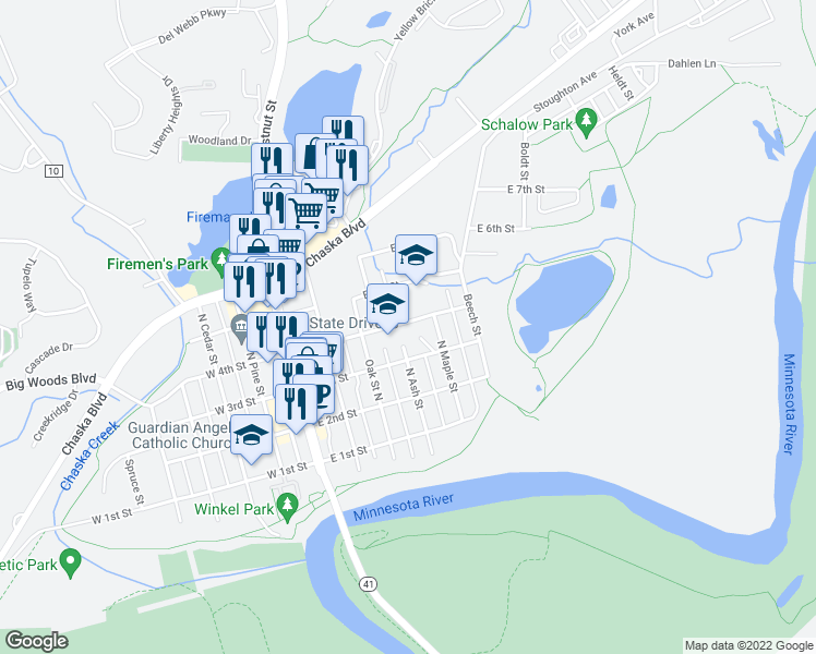 map of restaurants, bars, coffee shops, grocery stores, and more near 419 N Ash St in Chaska